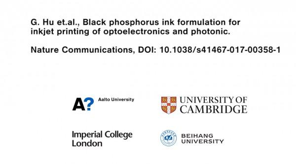 中英芬三國科學家聯合開發出黑磷油墨:可用於噴墨列印光學器件!