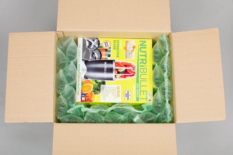 紙箱使用opus氣墊圖例4--商品外盒小,可以使用雙排氣墊堆疊固定