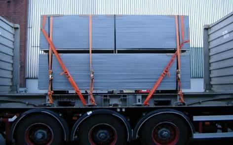 貨櫃綑綁帶固定平板貨櫃車板材示意圖--利用縱橫向多方的固定