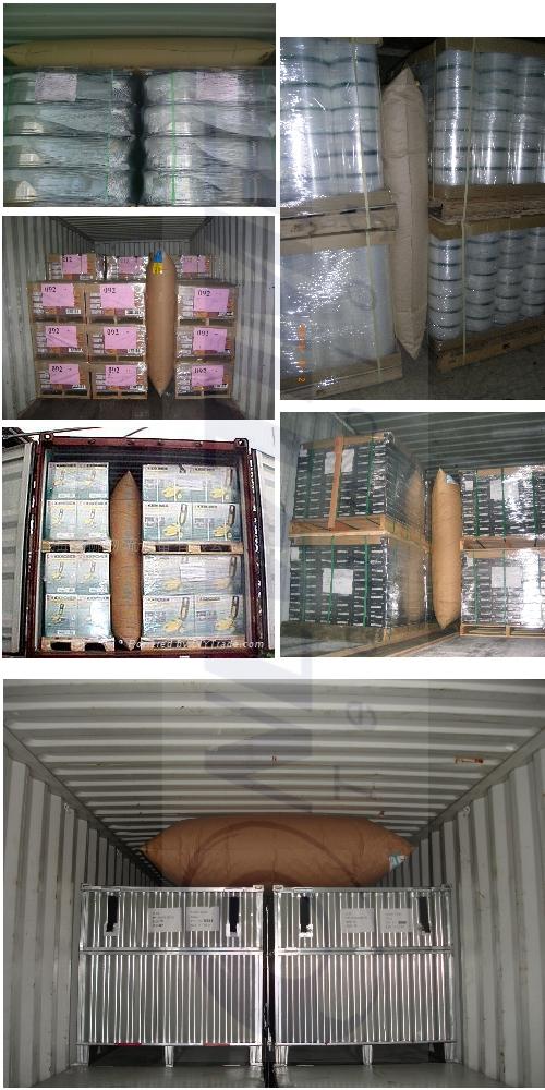 貨櫃充氣袋 使用圖例-可將不同規格貨櫃充氣袋放置在貨櫃內貨物上方、棧板貨物中間,固定貨品,緩衝運送中所產生的搖晃碰撞