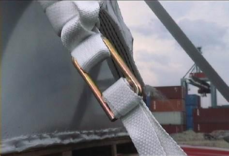 重件捆綁帶搭配目型扣/目字鉤示意圖--增加綑綁帶之間的拉力