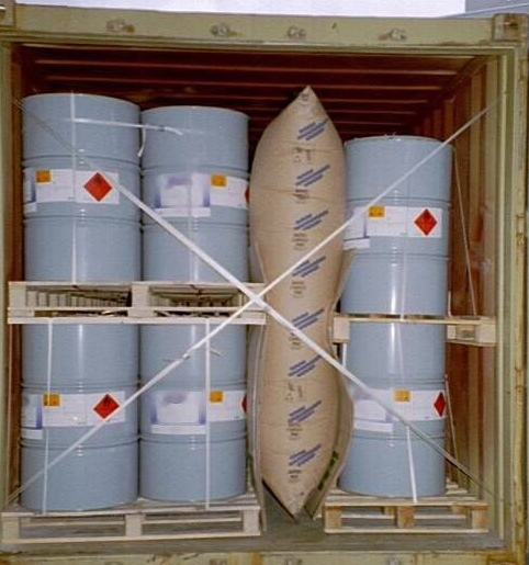 BATES貨櫃防撞袋使用圖例可以搭配綑綁袋一起使用,更加固定