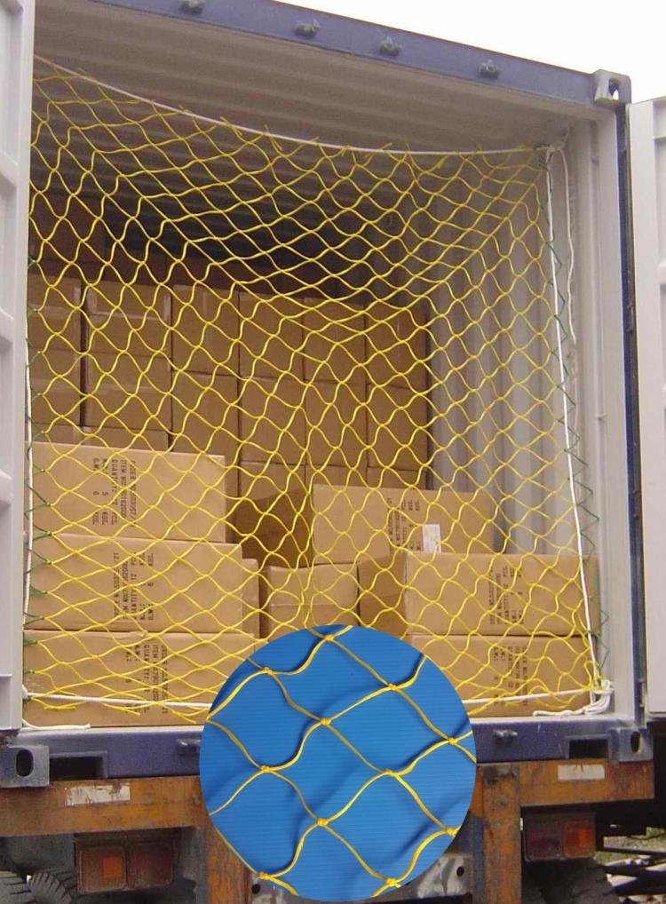 4mm線徑2.3M*2.3M貨櫃網使用圖示--直接利用貨櫃眼(環)綑綁固定,可避免貨品倒覆出貨櫃門外