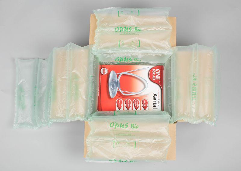 紙箱使用opus氣墊圖例1--商品盒大離紙箱較近,使用細長氣墊填充