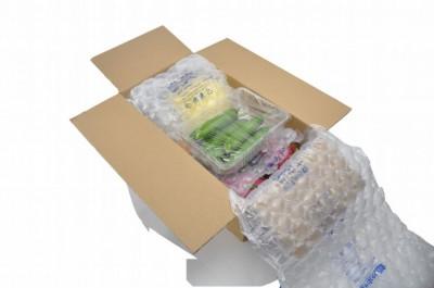 3.5cm圓形大氣泡布包裝圖示2--柔軟好折繞的特性可以直接包裹商品,也能平舖在紙箱內,多樣包裝方式可以靈活利用在紙箱出貨。
