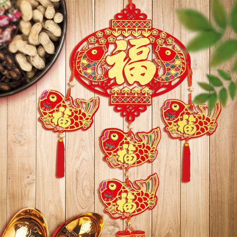 木板吊飾(福字燈籠4魚)