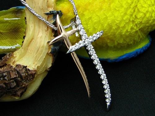 雙十字架鑽石墜子