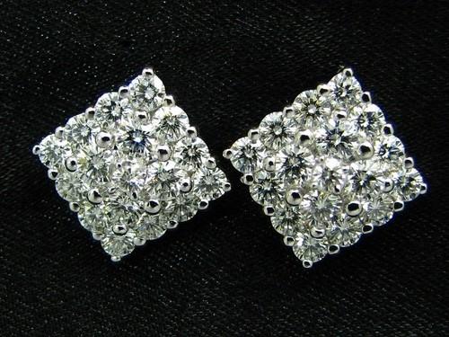 五克拉方鑽效果鑽石耳環