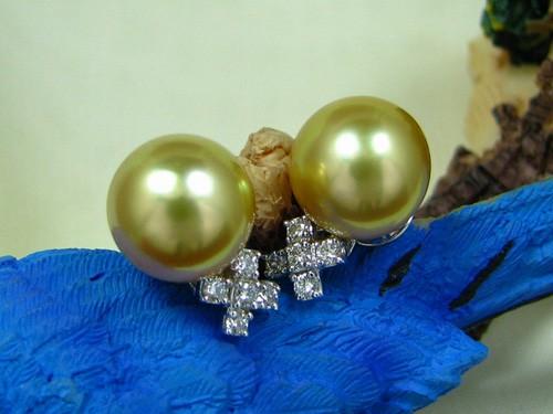 10.2mm黃金南洋珠耳環