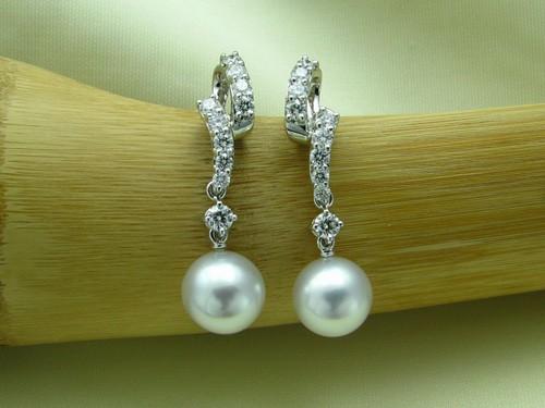 8.5-9mm銀白色南洋珠鑽石兩用耳環