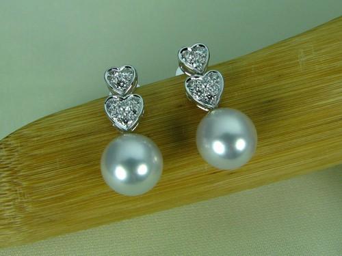 8-8.5mm銀白色南洋珠鑽石耳環