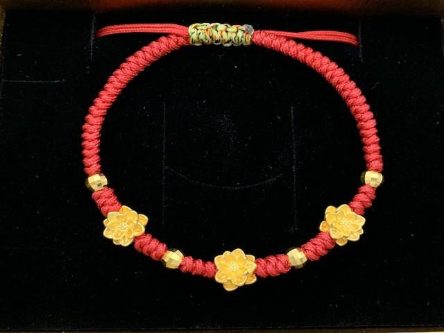 9999純黃金 粉紅鼠彌月紅繩手鍊