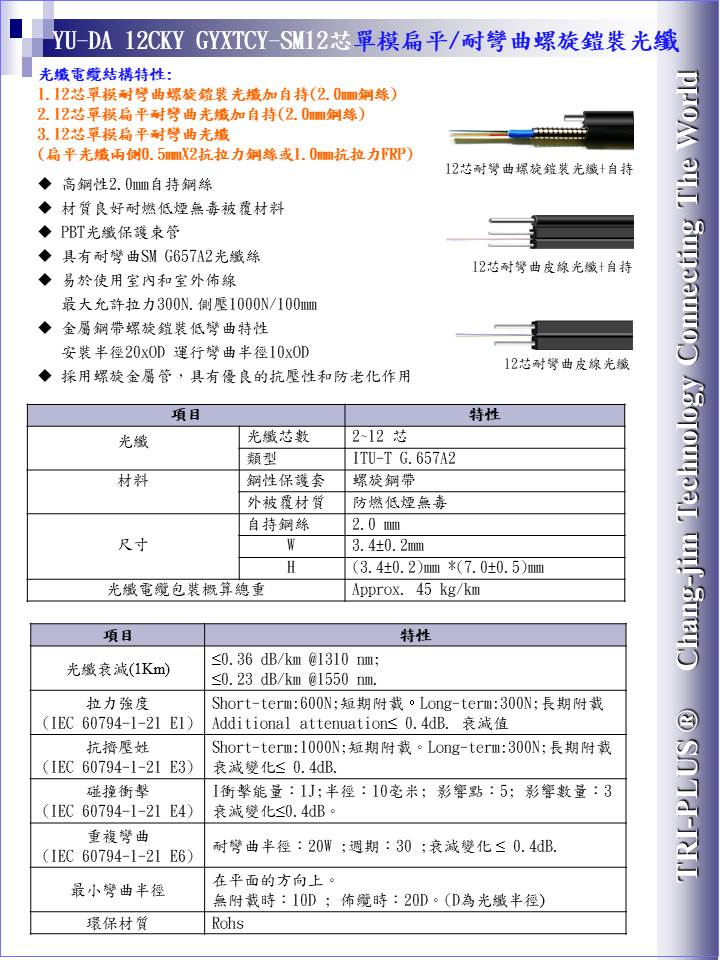 YU-DA 12CKY GYXTCY-SM12芯單模扁平&耐彎曲螺旋鎧裝光纖