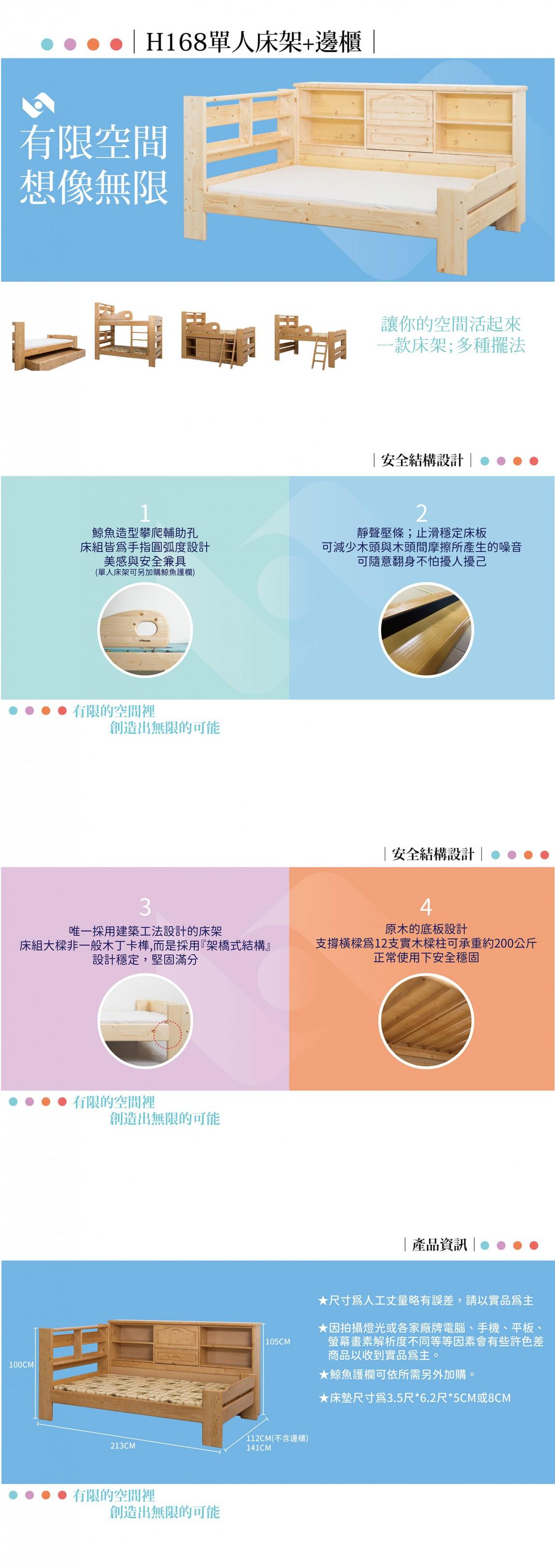 H168單人床架+邊櫃  商品介紹-min