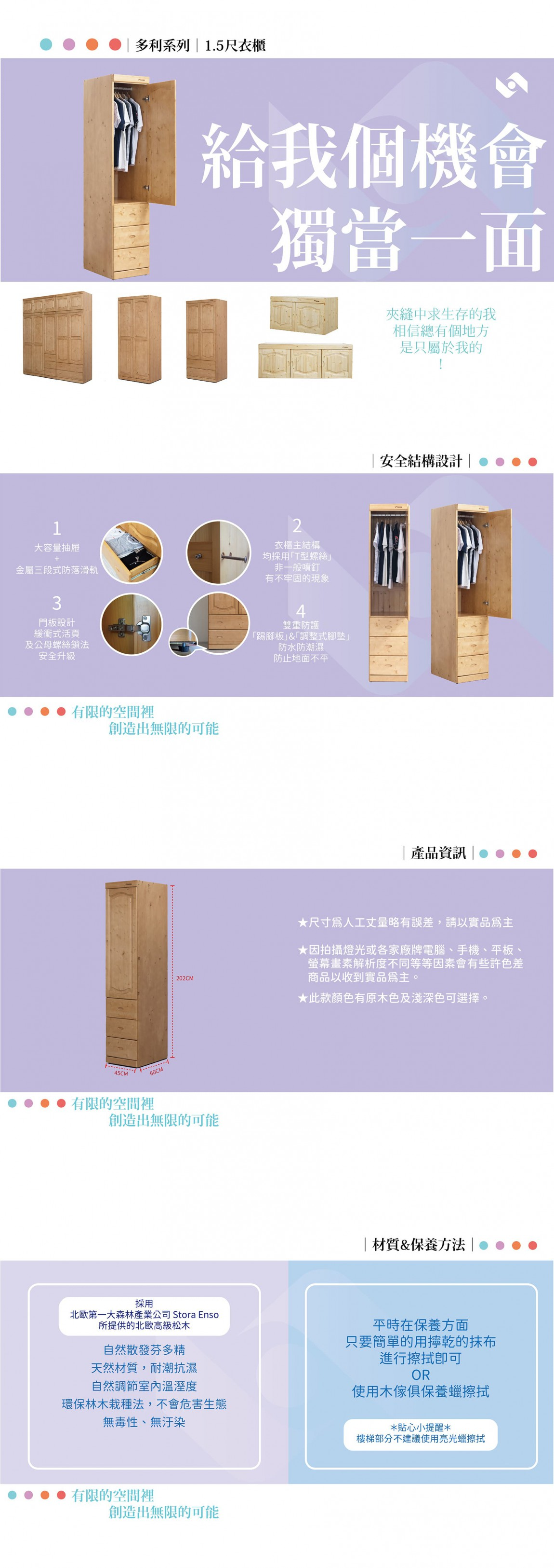 多利1.5尺衣櫃 商品介紹-min