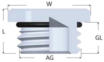 39-MG型金屬六角堵頭-剖面圖