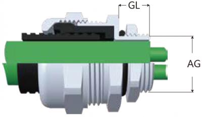 36-NJM型浪管用金屬防水電纜固定頭-剖面圖