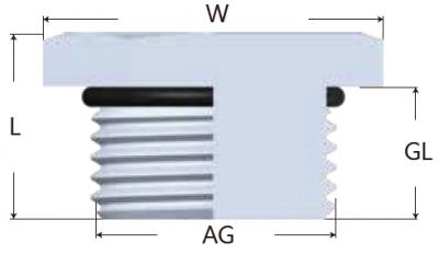 41-MG-SS型不鏽鋼六角堵頭-剖面圖